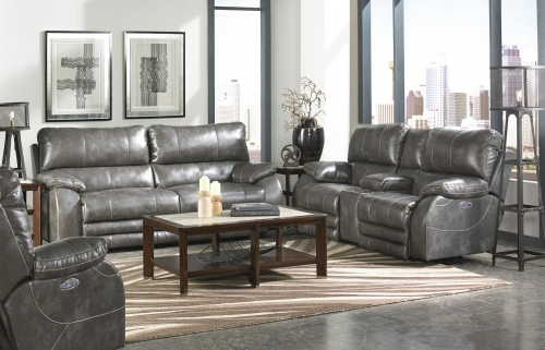 Sheridan Power Headrest Power Lay Flat Reclining Sofa Set - Steel
