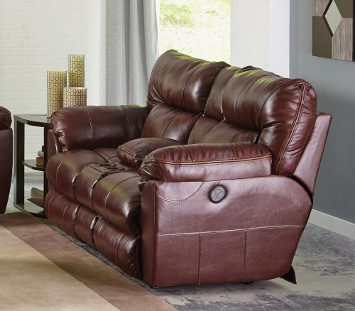 Milan Power Lay Flat Reclining Console Loveseat - Walnut