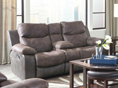 Henderson Reclining Console Loveseat With Storage and Cupholders - Dusk