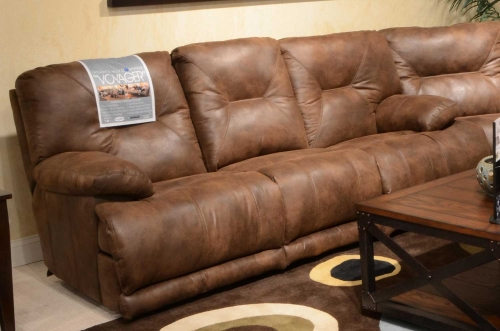 Voyager Lay Flat Sofa with 3 Recliners and Drop Down Table - Elk