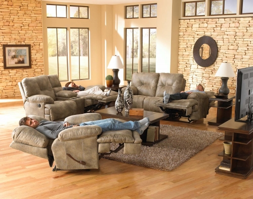Voyager Power Lay Flat Reclining Sofa Set - Brandy