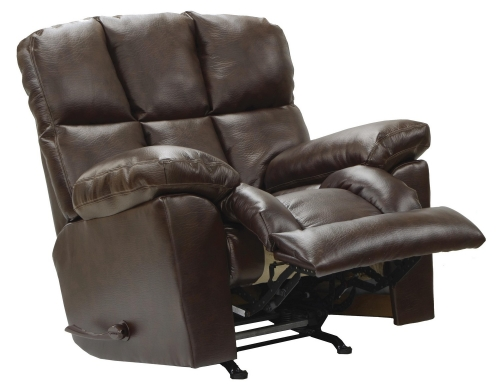 Griffey Bonded Leather Chaise Rocker Recliner - Java