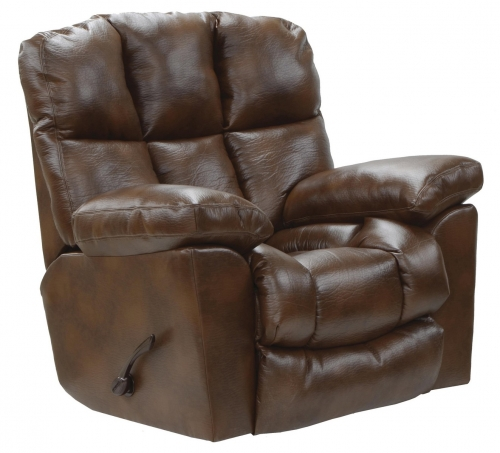 Griffey Bonded Leather Chaise Rocker Recliner - Tobacco