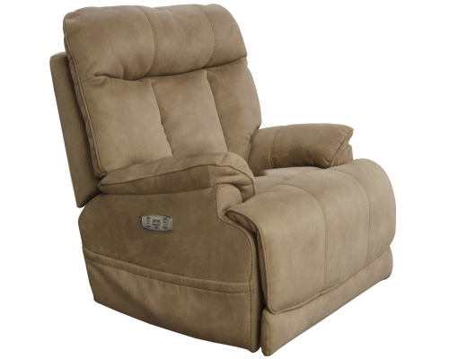 Amos Power Headrest Power Lay Flat Recliner Extended Ottoman - Camel