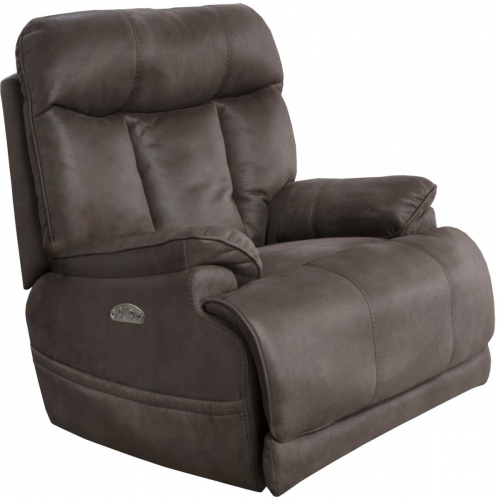 Amos Power Headrest Power Lumbar Power Lay Flat Recliner Extended Ottoman - Charcoal