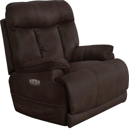 Amos Power Headrest Power Lumbar Power Lay Flat Recliner Extended Ottoman - Dark Chocolate