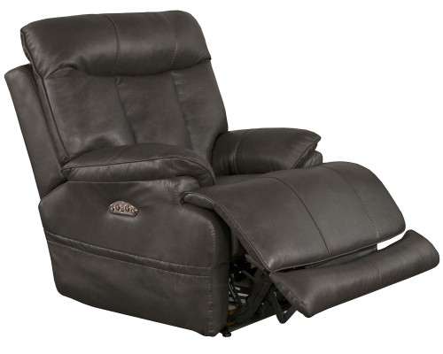 Naples Leather Power Recliner Chair - Steel