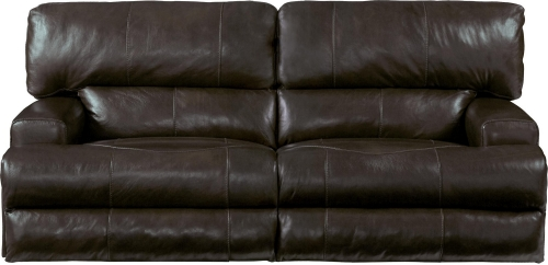 Wembley Top Grain Italian Leather Leather Power Headrest Power Lay Flat Reclining Sofa - Chocolate