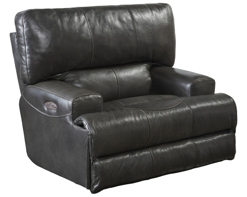 CatNapper Wembley Top Grain Italian Leather Leather Power Headrest Power Lay Flat Recliner - Steel