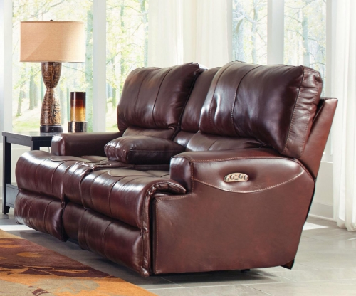 Wembley Top Grain Italian Leather Leather Power Headrest Power Lay Flat Reclining Console Loveseat - Walnut