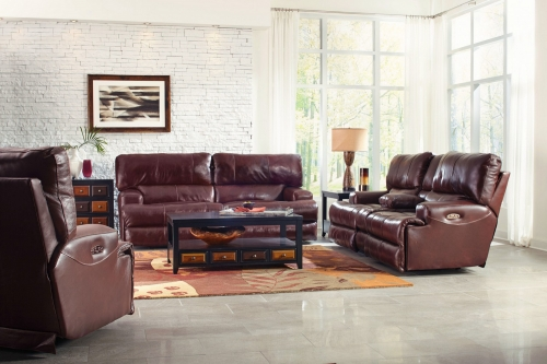 CatNapper Wembley Top Grain Italian Leather Leather Power Headrest Power Lay Flat Reclining Sofa Set - Walnut