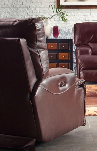 Wembley Top Grain Italian Leather Leather Power Headrest Power Lay Flat Recliner - Walnut