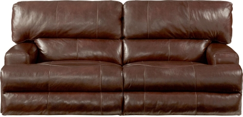 Wembley Top Grain Italian Leather Leather Power Headrest Power Lay Flat Reclining Sofa - Walnut