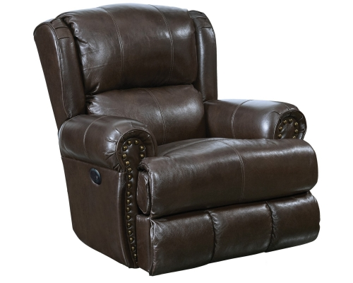 Duncan Top Grain Leather Touch Deluxe Glider Recliner - Chocolate