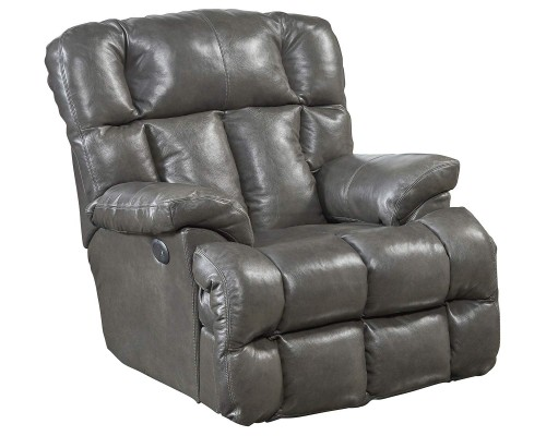 Victor Leather Rocker Recliner Chair - Steel