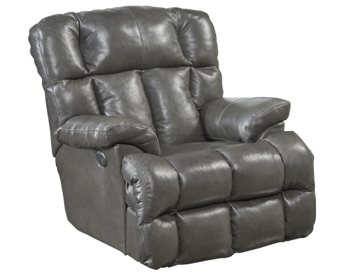 Victor Top Grain Leather Power Lay Flat Chaise Recliner - Steel