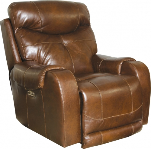 Venice Top Grain Leather Touch Power Headrest Power Lay Flat Recliner - Chestnut