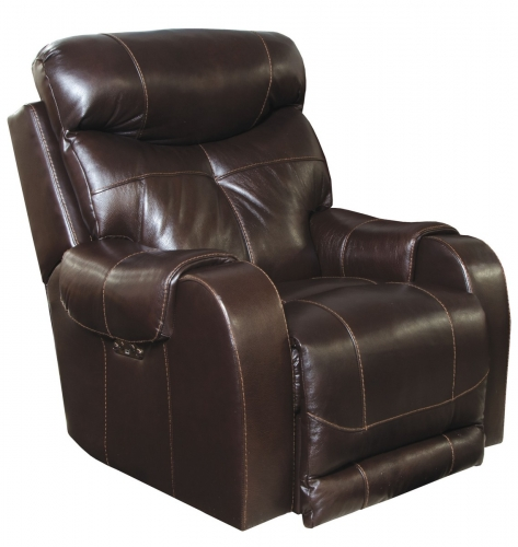 Venice Top Grain Leather Touch Power Headrest Power Lay Flat Recliner - Chocolate