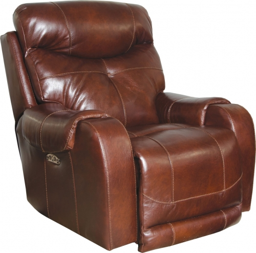Venice Top Grain Leather Touch Power Headrest Power Lay Flat Recliner - Walnut
