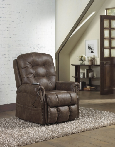 Ramsey Power Lift Lay Flat Recliner with Heat and Massage - Sable