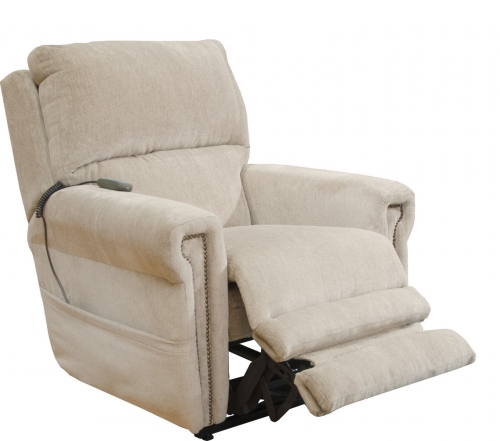 Warner Power Headrest Power Lumbar Power Lift Lay Flat Recliner Dual Motor and Extended Ottoman - Putty