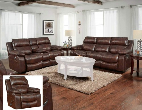 Positano Reclining Sofa Set - Cocoa