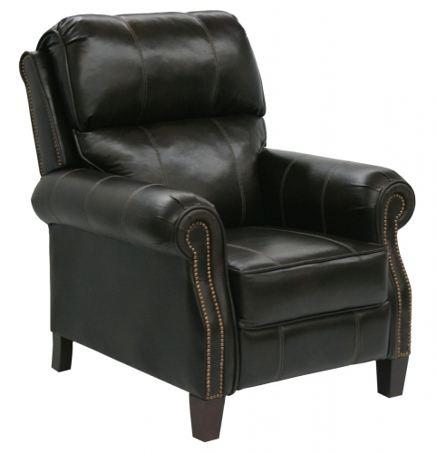 Frazier Bonded Leather Reclining Chair with Extended Ottoman - Java