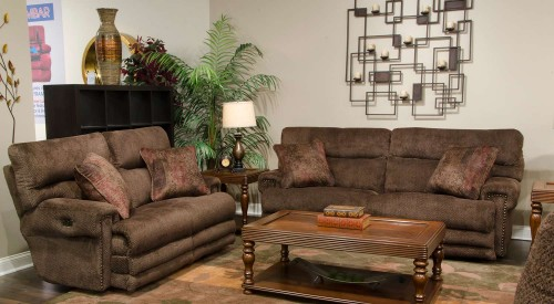 Garrison Power Reclining Sofa Set - Chocolate/Toffee