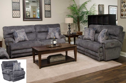 Garrison Power Reclining Sofa Set - Pewter/Smoke