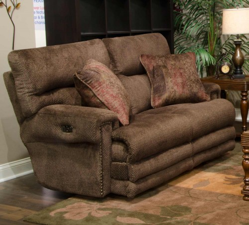 Garrison Power Reclining Loveseat - Chocolate/Toffee
