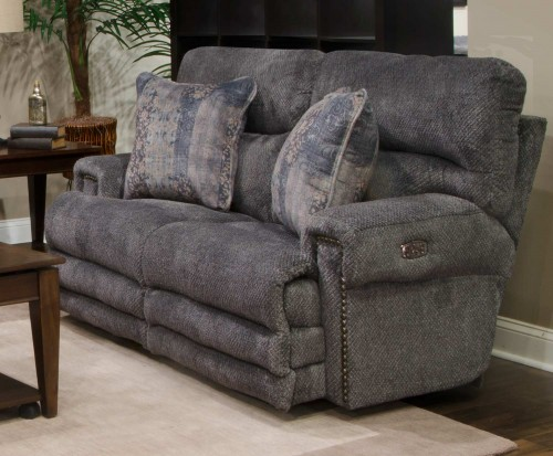 Garrison Power Reclining Loveseat - Pewter/Smoke