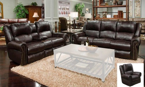 Messina Leather Power Reclining Sofa Set - Chocolate