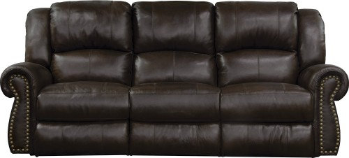 Messina Leather Power Reclining Sofa - Chocolate
