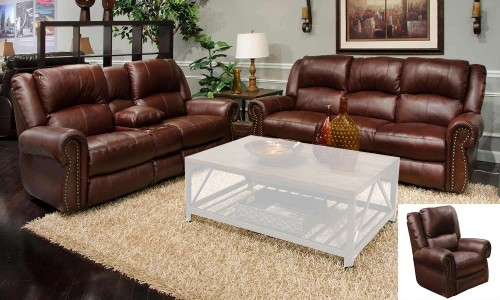 Messina Leather Power Reclining Sofa Set - Walnut