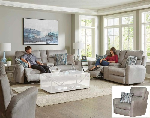 Paloma Power Reclining Console Sofa Set - Fog