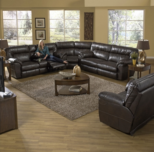 Nolan Reclining Sectional Sofa Set - Godiva