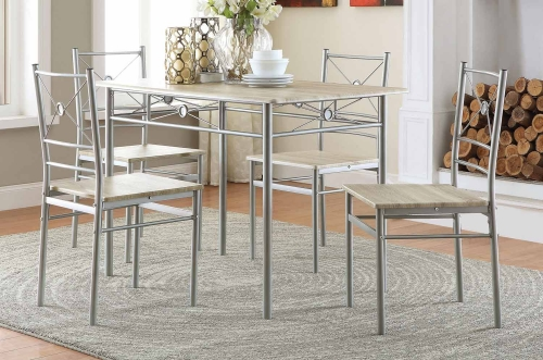 100035 5-Pc Dinette Set - Brushed Silver