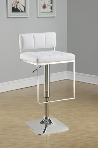 100193 Adjustable Bar Stool - White/Chrome