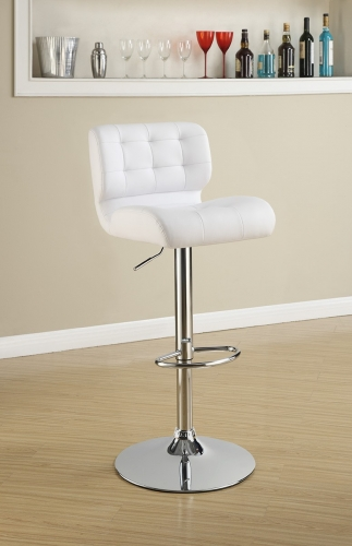 100546 Adjustable Bar Stool - Chrome/White