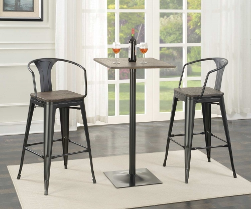 100730 Square Bar Table Set - Matte Black/Dark Elm