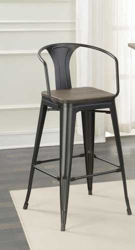 100737 Bar Stool - Matte Black/Dark Elm