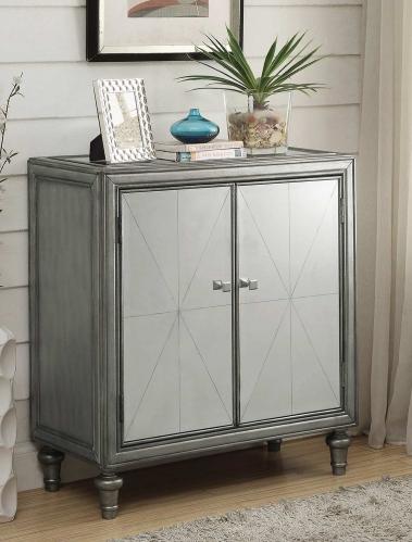 101049 Wine Cabinet - Clear Mirror/Silver