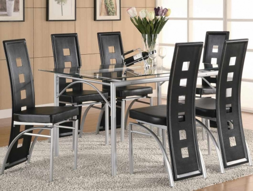 Los Feliz Rectangular Glass Dining Set - Black