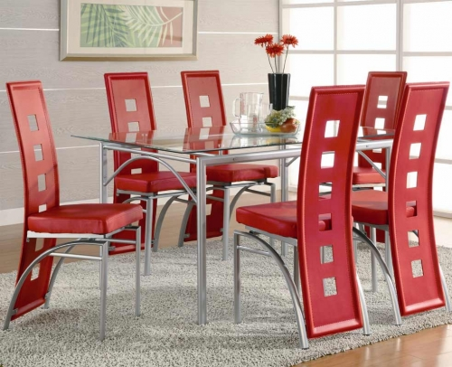 Los Feliz Rectangular Glass Dining Set - Red