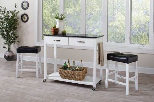 102134 3 PC Counter Height Dining Set - White