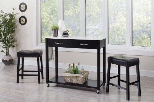 102137 3 PC Counter Height Dining Set - Black