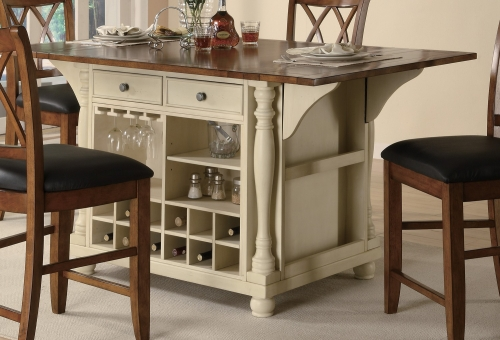 102271 Kitchen Island - Buttermilk/Brown