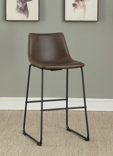 102536 Bar Stool - Two-Tone Brown Leatherette/Black Legs