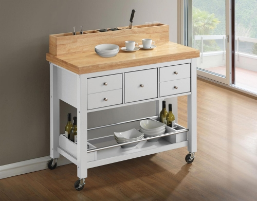 102669 Kitchen Cart - Natural and White