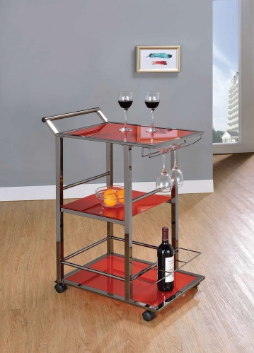 102994 Serving Cart - Black Nickel/Red